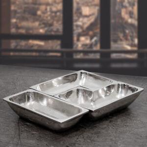Snackschalen, 3 Teilig, Aluminium, gebürstet, Auslage