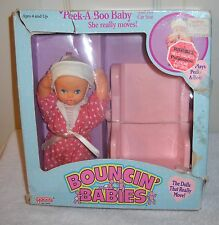 #9491 NRFB Galoob Bouncin Babies Peek A Boo Baby and her Car Seat