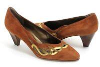 Élégant Sangles Vintage Escarpins Chaussures Franca Dotti Métallique Cuir 39,5 -