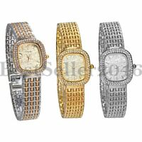 Womens Luxury Square Rhinestone Dial Quartz Analog Stainless Steel Band Watch