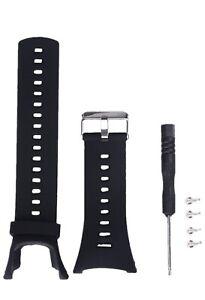 """Bracelet Pour Montre Suunto Ambit 3 2 1Confort Caoutchouc 9"""" 15 Trous Noir"""