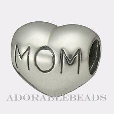 Authentic Chamilia Sterling Silver Mom Heart Bead  GA-8