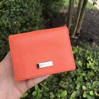 NWT FURLA Classic Small Saffiano Leather Tri Fold ID Snap Wallet In Mango