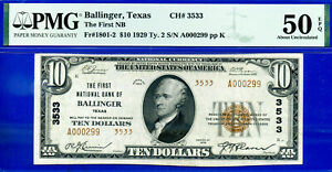 TOP POP 1/0 - 1929 $20 National (( Ballinger, Texas - CH# 3533 )) PMG AU-50EPQ