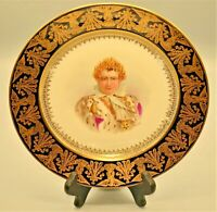 Antique Sevres Imperial Signed Napoleon Cobalt Gilded Porcelain Serving Plate