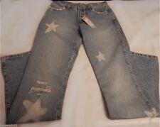 NWT $104 Italian Twinset Distressed Star Mini Flare Jeans Sz Small 28 Waist