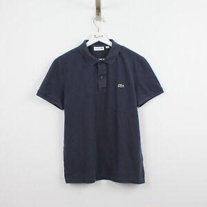 AB32 Vtg Lacoste Polo Mens Blue Short Sleeve Cotton Shirt Size Slim Fit 4 M