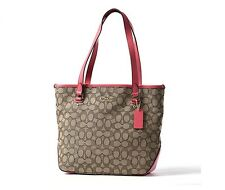 Coach Outline Signature Zip Top Tote Khaki Strawberry - Style 58282 - $275 MSRP!