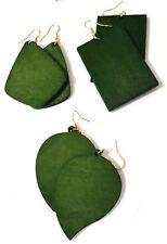 Dark Green Wooden Drop Earrings. Different Styles. Women's Fashion Jewellery