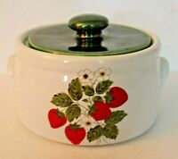 Vintage McCoy Cookie Jar with Lid Strawberries 1421 Green 1.5 quarts Green White