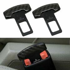 2pcs Universal Carbon Fiber Car Safety Seat Belt Buckle Alarm Stopper Clip Clasp