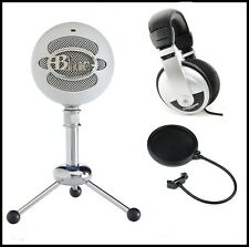 Blue Microphones Snowball USB Microphone + Samson Stereo Headphones + Pop Filter