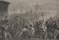 Antique US Civil War Attack on the Massachusetts 6th Engraving 1863 Original Art