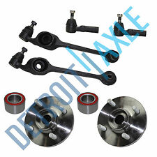 NEW - 2 Front Lower Control Arm and Ball Joint + 2 Wheel Hub Bearing + 2 Tie Rod