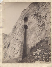 VINTAGE 9X11 PHOTOGRAPH OF MINING CAR COMING FROM MOUTH OF MOUNTAIN