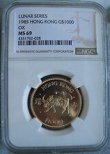 1985 Hong Kong Gold 1000 Dollars NGC MS-69  OX