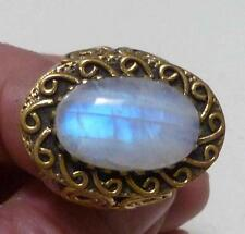 Heavy Rainbow Moonstone Ring 925 Sterling Silver Bronze,the look of Gold Sz 8