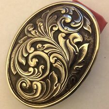 2 And 5/8ths Inch Sterling Silver Western Buckle With Scroll Design, AK, 925