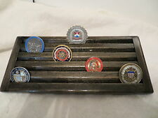 Military Challenge Coin /Casino Chips Wood Display Holder 5 Tier ->EBONY