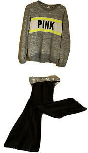 Victoria Secret Pink- YOGA Legging /1-VSP gray Sweatshirt LOGO Lot of 2 JR.Small