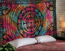 Queen Size Elephant Tie Dye Wall Decorative Tapestry Indian Cotton Bedspread