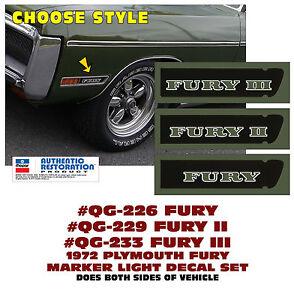 SP-QG-226/29/33 1972 PLYMOUTH FURY MARKER LIGHT DECALS - FURY  FURY II  FURY III