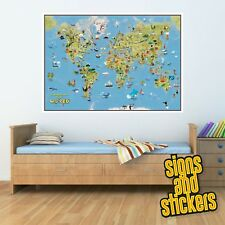 Childrens Colourful Cartoon style WORLD MAP full of facts Boys/Girls Bedroom art