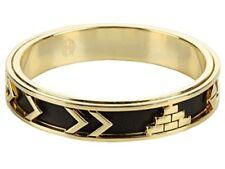 House of Harlow 1960 Gold-Tone Aztec Chevron Black Leather Bangle Bracelet NWT