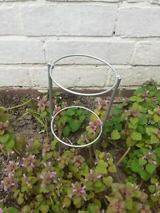 """4x 4"""" Ring 10"""" High Garden Plant Support  2 Rings / 2 Legs New Handmade -SILVER"""