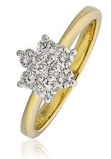 18CT YELLOW GOLD 0.50CT GSI DIAMONDS CLUSTER LADY RING engagement  GOY167