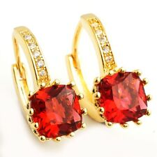 Wedding Party Gold Plated Hoop Earrings Deep Red Cubic Zircon for Women Lady