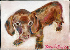 "Mini Dachshund 5""x7"" Limited Edition Oil Painting Print Signed Art by Artist"