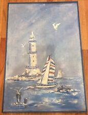 Vintage Original Oil Painting 24x36 Light House Seagle Ocean Beach Sail Boat