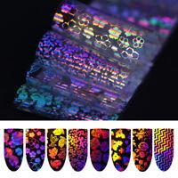 8 Pcs Holographic Nail Foil Laser Rose Flower Manicure Nail Art Transfer Sticker