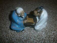 Vintage - Chinese Mudman - Statue - Figurine - two men reading