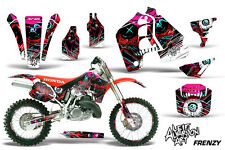 Honda CR500 With # Plate Graphics Kit Dirt Bike Wrap MX Decals 1989-2001 FRENZY