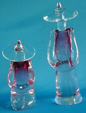 Murano Pino Signoretto Signed Chinese Figures Glass Sculptures Italy Set of 2