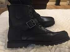 Polo Ralph Lauren Men's Weybrook Black Leather  Boots New Size 11