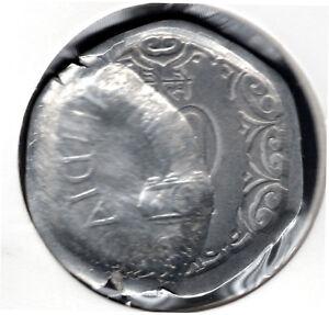 INDIA 20 PAISA ALUMINIUM COIN BROAD STRUCK,DIE CAP & PARTIAL BROCKAGE ERROR