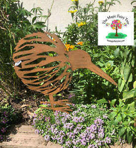 Rusty metal kiwi stake garden sculpture decor bird ornament New Zealand