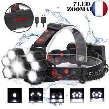 REEXBON Lampe Frontale, Lampe Torche 7 LED USB Rechargeable,Zoomable et Étanche