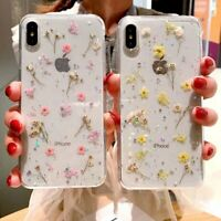 Clear Real Dried Pressed Flowers Phone Case For iPhone X/XS MAX XR 8 7 6 xkj