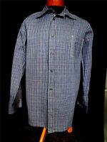 VERY RARE SIZE 2XL VINTAGE 1950'S FRENCH BLUE PLAID COTTON GRANDFATHER SHIRT
