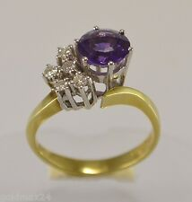 Damen-Ring mit Amethyst & ca. 0.25 ct. Brillanten / 585er 14 Karat Gold