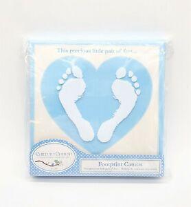 Boy Baby Foot Print Kit Blue Keepsake Canvas NEW