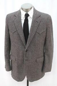 vintage mens gray fleck CIRCLE S tweed western blazer jacket sport coat 42 R