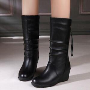 Botas Cálidas de cuero Para Mujer Zapatos De Tacón Alto Con Cremallera Invierno