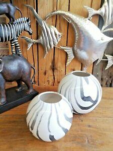 Edle Design Blumenvase 15/12 cm Schwarz Weiß Keramik Zebra Vase Blume Deko