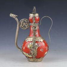 China Porcelain Copper Handwork Old Dragon Armored Wine Tea Pot & Mouse Lid