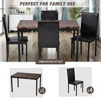 Dining Table and 4 Leather Chairs Kitchen Home Furniture 5Pcs Set Breakfast